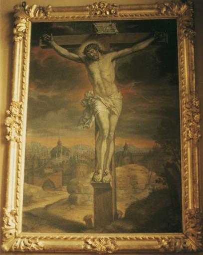 Tableau : Christ en croix, huile sur toile, vers 1698, et cadre en bois doré