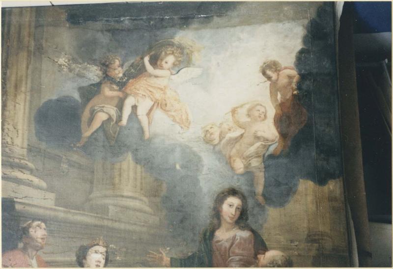 Tableau: Vierge entourée d'un diacre, d'un évêque et d'une sainte couronnée, vue partielle
