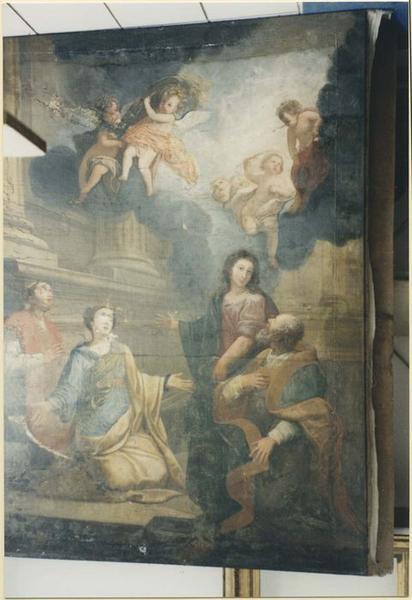 Tableau: Vierge entourée d'un diacre, d'un évêque et d'une sainte couronnée, vue générale