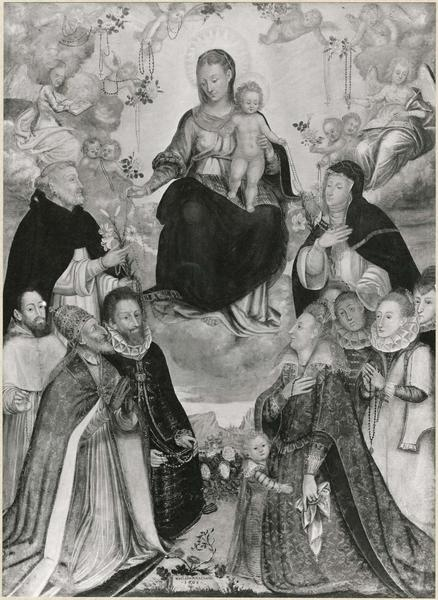 Tableau : Vierge du rosaire, saint Dominique, sainte Catherine de vienne, vue générale