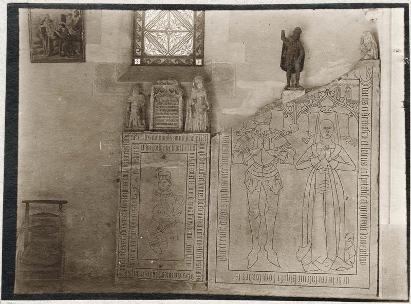 Dalle funéraire de Georges de Varax et d'Antoinette de Luirieux, sa femme; plaque funéraire de dame Parise de Maladière; dalle funéraire, vue générale