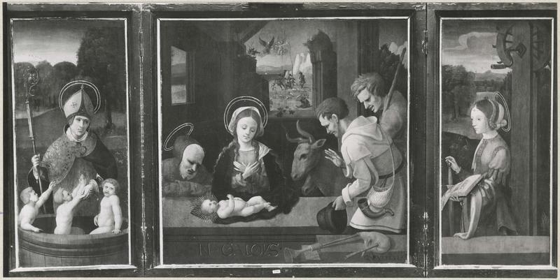 Tableau (triptyque) : Adoration des bergers, saint Nicolas, sainte Catherine, volets ouverts, vue générale