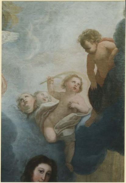 Tableau: Vierge entourée d'un diacre, d'un évêque et d'une sainte couronnée, détail