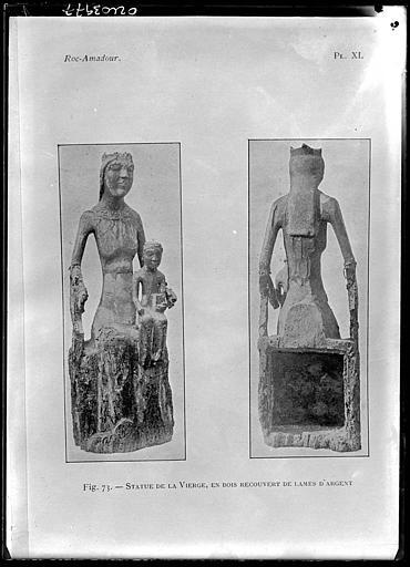 Reproduction d'un document, fig.73 : Statues de la Vierge, en bois recouvert de lames d'argent