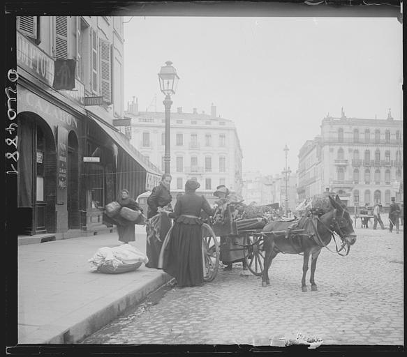 Scène animée : passants, calèches et chevaux