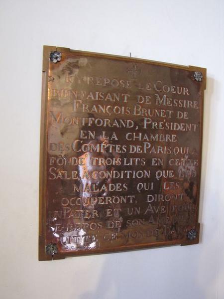 plaque funéraire du coeur de François Brunet de Montforand, vue générale