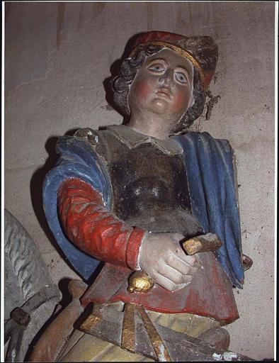 Groupe sculpté : la Charité de saint Martin, détail visage et buste