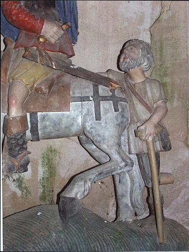 Groupe sculpté : la Charité de saint Martin, détail du mendiant
