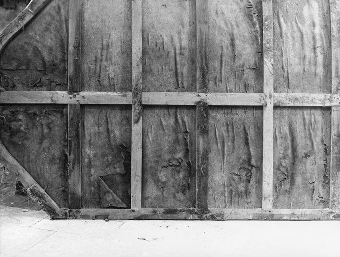 Tableau : Le Triomphe de la Vierge, huile sur toile, dos de la toile avec châssis avant rentoilage