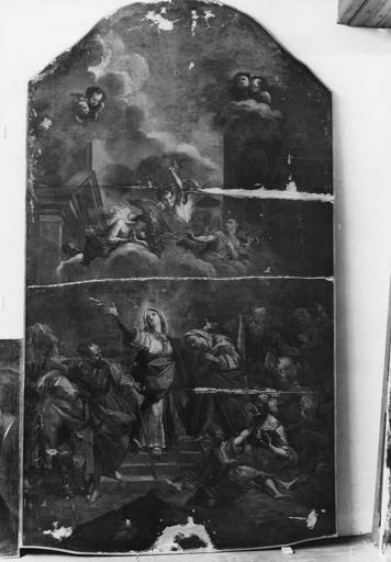 Tableau : Le Triomphe de la Vierge, huile sur toile, après rentoilage et enlevage des repeints