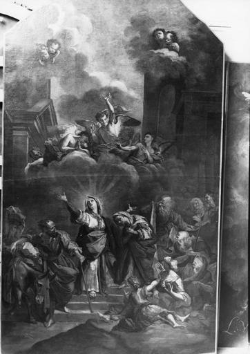 Tableau : Le Triomphe de la Vierge, huile sur toile, après restauration