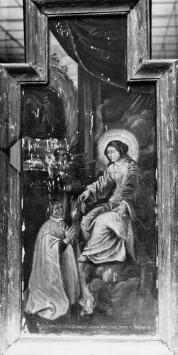 Tableau (panneau peint) : Vierge et donateurs, ex-voto, début 17e siècle, avant restauration