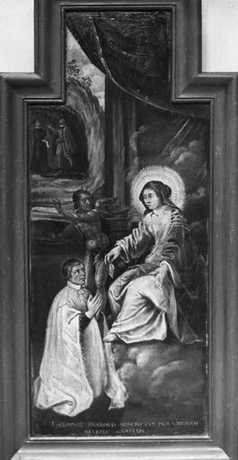 Tableau (panneau peint) : Vierge et donateurs, ex-voto, début 17e siècle, pendant restauration