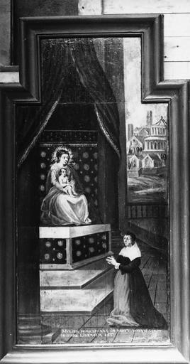 Tableau (panneau peint) : Vierge et donateurs, ex-voto, début 17e siècle, après restauration