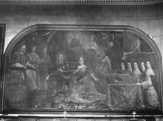 Tableau : Pierre Stoppa lieutenant général des armées du roi et Anne de Gondy sa femme recevant des mains du pape Innocent XI les reliques de sainte Claire