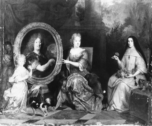 Tableau : Pierre Stoppa, Anne de Gondy son épouse et Anne de la Bretonnière, leur nièce, huile sur toile de Largillière, après rentoilage et nettoyage, avant retouches