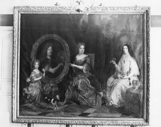 tableau : Pierre Stoppa, Anne de Gondy son épouse et Anne de la Bretonnière, leur nièce, huile sur toile, par Largillière, avant restauration