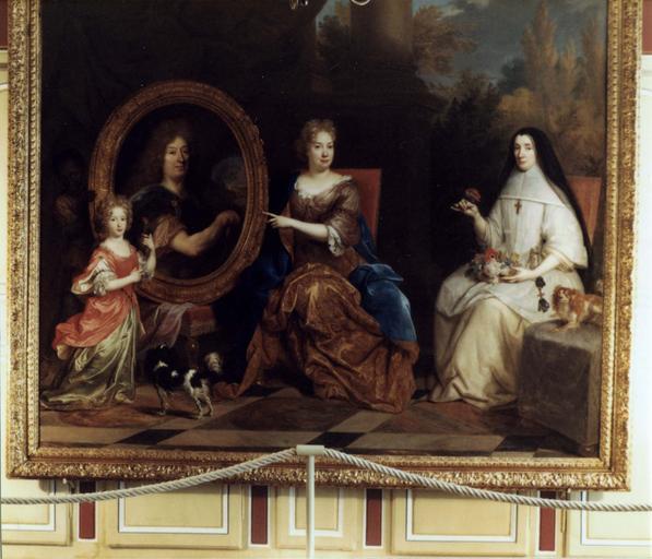 Tableau : Pierre Stoppa, Anne de Gondy son épouse et Anne de la Bretonnière, leur nièce, huile sur toile, par Largillière, après restauration