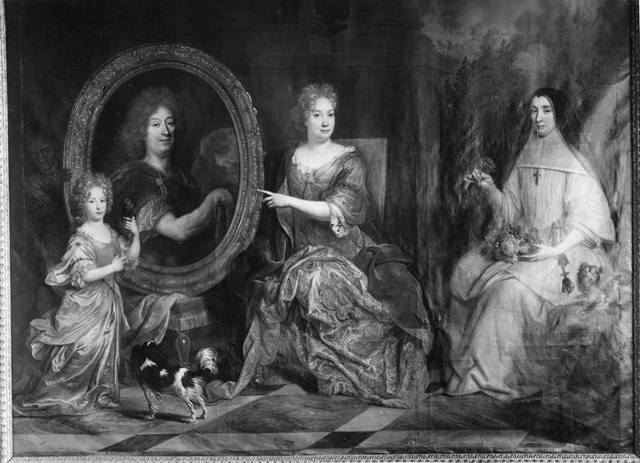 Tableau : Pierre Stoppa, Anne de Gondy son épouse et Anne de la Bretonnière, leur nièce, huile sur toile, 2e moitié 17e siècle