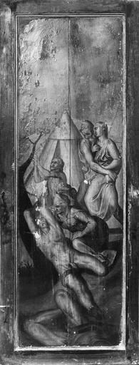2 tableaux (triptyque) : donateur et donatrice avec leurs saints patrons
