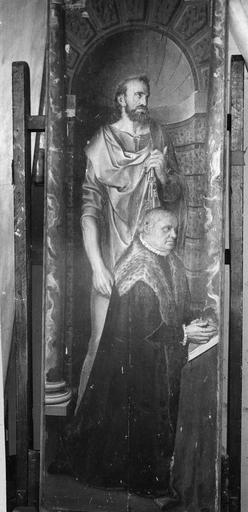Volet d'un triptyque : donateur et saint patron (face du premier panneau)