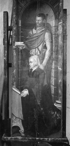 Volet d'un triptyque : donatrice et saint patron (face du second panneau)