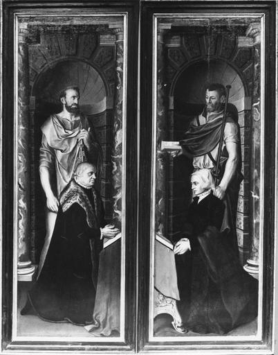 Deux volets de triptyque : donateur et donatrice avec leurs saints patrons, panneaux peints sur les deux faces, 16e siècle, avant restauration