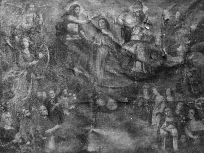 Tableau : Couronnement de la Vierge avec saints et saintes donateur et donatrice, avant restauration