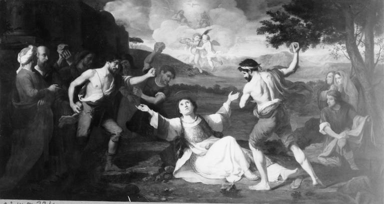 Tableau : La Lapidation de saint Etienne, huile sur toile, 17e siècle