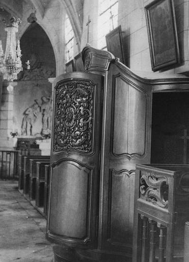 Confessionnal, bois sculpté, déclassé en 1957