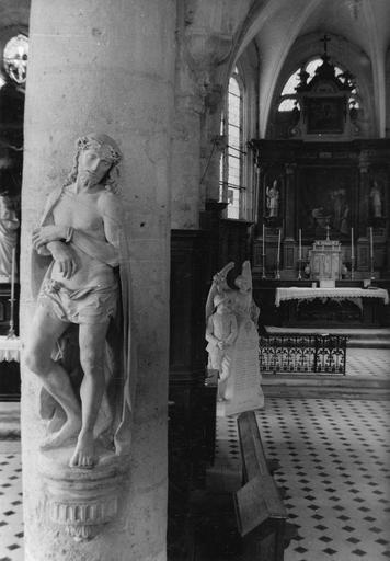 Statue : Le Christ au pilori  ou Ecce Homo, pierre, 16e siècle, après extraction des fers, goujonnage au cuivre et scellements, nettoyage et raccords divers