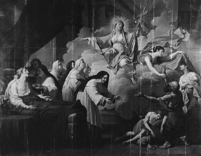 Tableau : La Religion et l'humanité s'unissant pour soulager la souffrance du monde