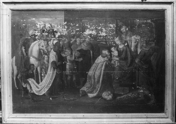 Tableau : L'Adoration des mages, panneau peint, 16e siècle