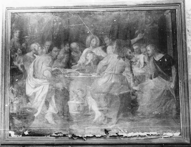 Tableau : La Cène, huile sur toile, 17e siècle