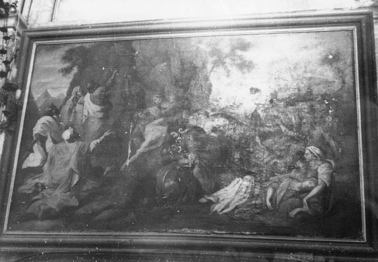 Tableau : Moïse frappe le rocher, huile sur toile, 17e siècle