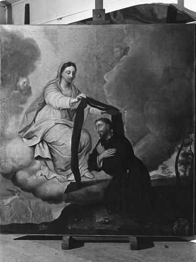 Tableau : saint Simon Stock recevant le scapulaire, huile sur toile, 18e siècle