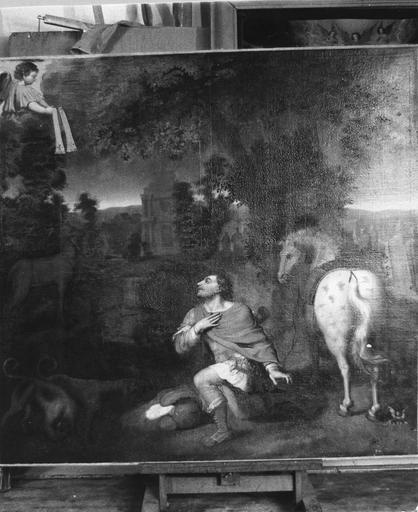 Tableau : La Vision de saint Hubert, huile sur toile, 17e siècle