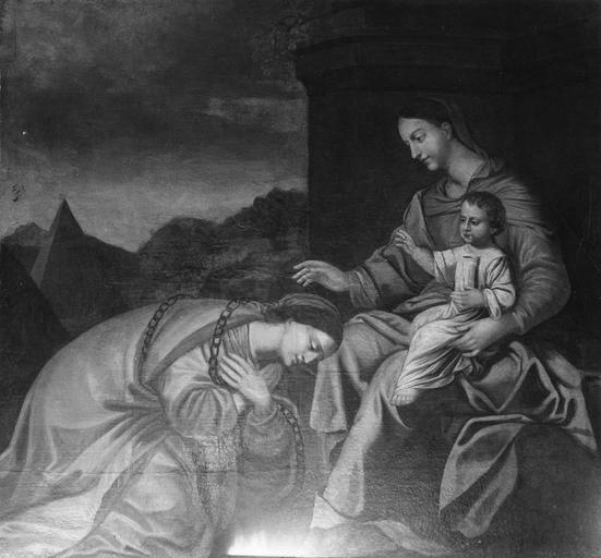 Tableau : Vierge à l'Enfant avec sainte Catherine, huile sur toile, 17e siècle