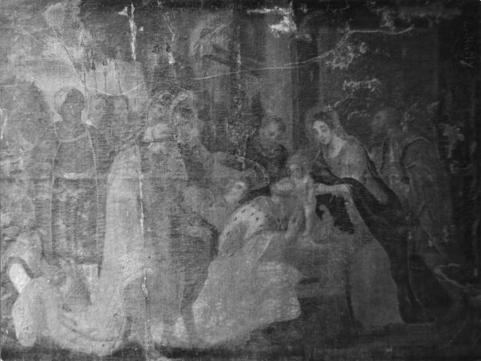 Tableau : L'Adoration des mages, huile sur toile, 18e siècle