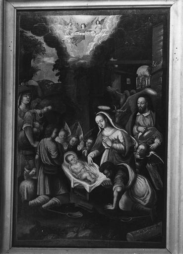 Tableau : L'Adoration des bergers, huile sur toile, 18e siècle