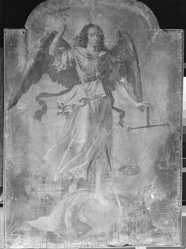 Tableau : saint Michel, huile sur toile, 17e siècle