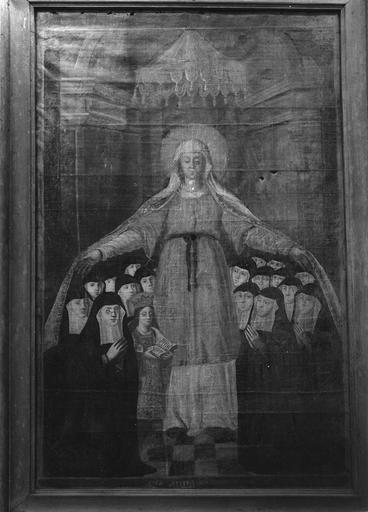 Tableau : Vierge de Miséricorde protégeant les nonnes de l'abbaye de Longpré, huile sur toile, début 18e siècle