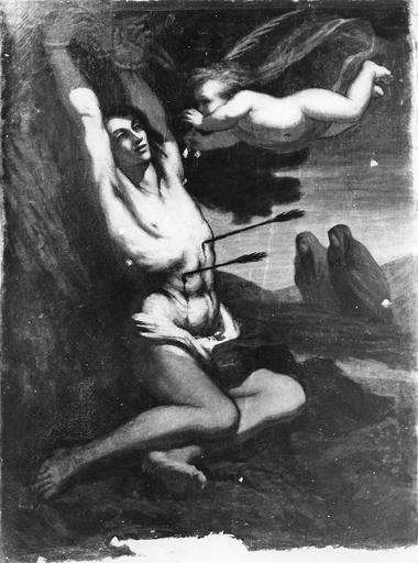 Tableau : Le Martyre de saint Sébastien, huile sur toile, 19e siècle, après rentoilage et avant retouches