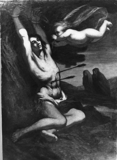Tableau : Le Martyre de saint Sébastien, huile sur toile, 19e siècle
