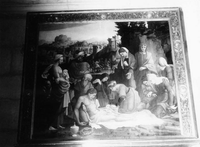 Tableau, cadre : L'Embaumement du Christ, panneau peint, 16e siècle