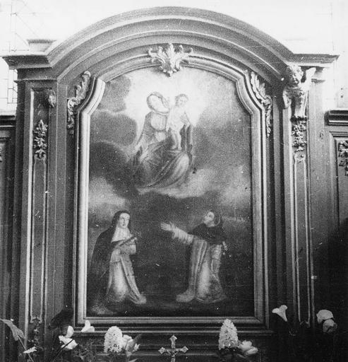Autel latéral Sud et son tableau : L'Institution du Rosaire, 18e siècle