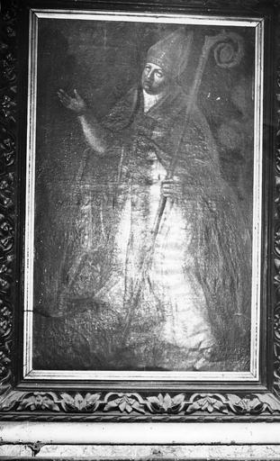 tableau : Saint Evêque, huile sur toile, 17e siècle