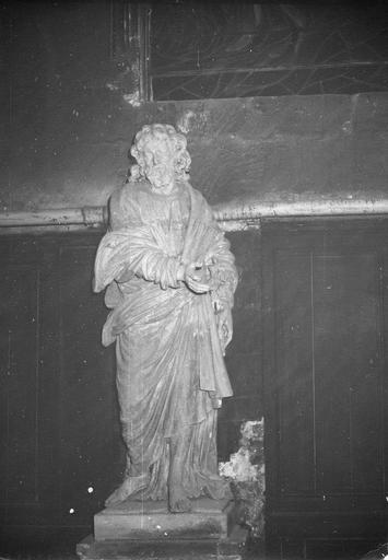 Statue : saint Joseph, pierre, provenant de la chartreuse de Bourgfontaine