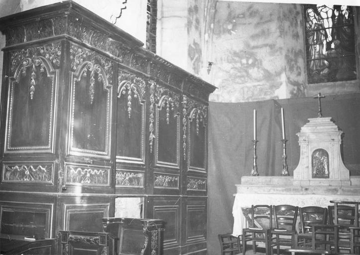 Lambris de revêtement, boiseries du choeur, côté gauche, 17e siècle