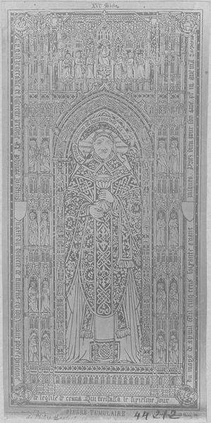 dalle funéraire de Philippe Lenfant, chanoine de Laon, vue générale